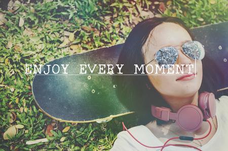 enjoyment: Enjoy Every Moment Enjoyment Happiness Joy Concept Stock Photo