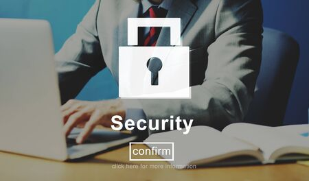 online privacy: Security Lock Website Online Privacy Concept Stock Photo