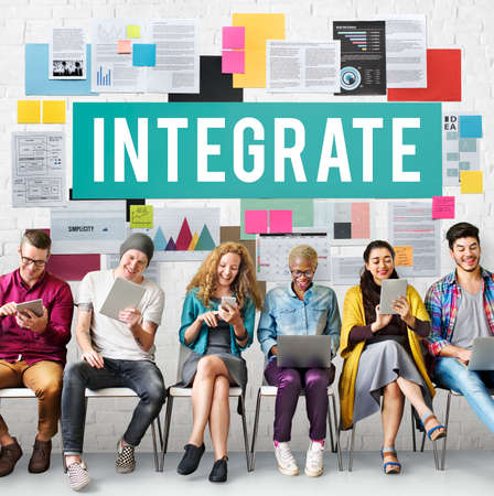 consolidate: Integrate Combine Equality Immigration Merge Concept Stock Photo