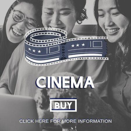 silver screen: Movie Cinema Ticket Graphic Concept