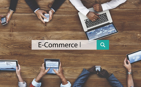 net meeting: E-commerce Business Connecting Data Email Concept Stock Photo