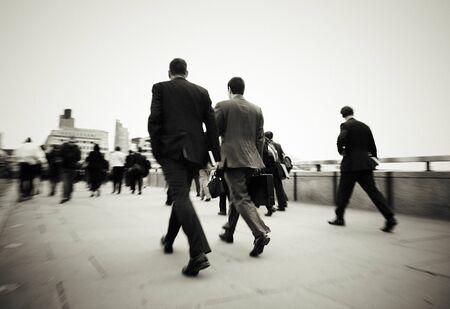 mundane: Gentlemen On Their Way To Work Concept Stock Photo