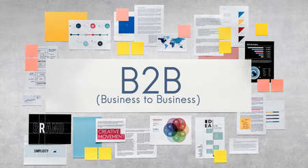 b2b: B2B de negocios para el concepto de intercambio de transacción del negocio de conexión Foto de archivo