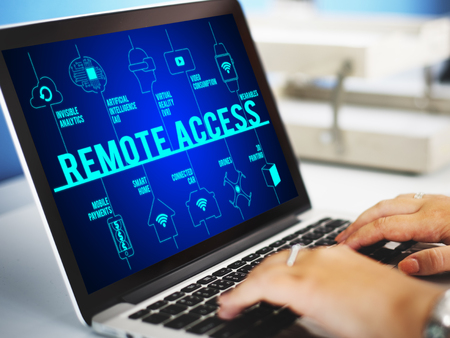 remote access: Remote Access Connected Drones Technology Concept Stock Photo