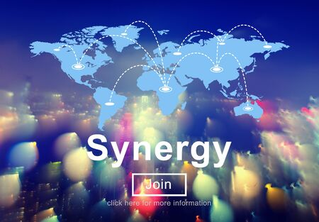 sinergia: Concepto Cooperación Interacción del Equipo de Synergy Unidad Foto de archivo