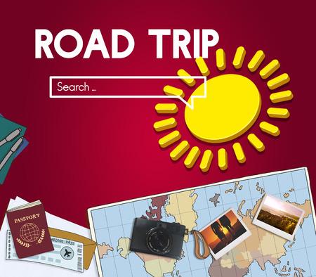 Map with road trip concept Banco de Imagens