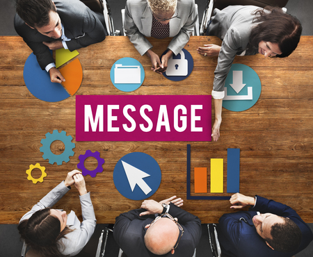 Business meeting with message concept