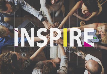 Inspirez idées créatives gens Concept graphique Banque d'images