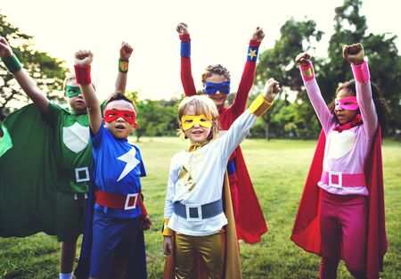 strenght: Superheroes Kids Aspiration Cheerful Strenght Concept