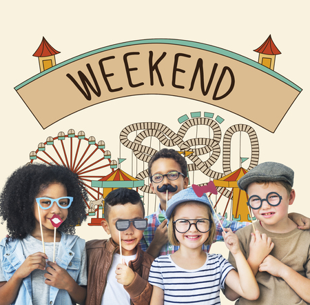 sunday: Weekend Enjoy Greeting Sunday Saturday Relax Concept