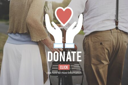 happy mature couple: Donate Giving Charity Social Help Concept