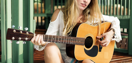 Woman beat guitar: Guitar Girl Relaxation Casual Instrument Leisure Concept