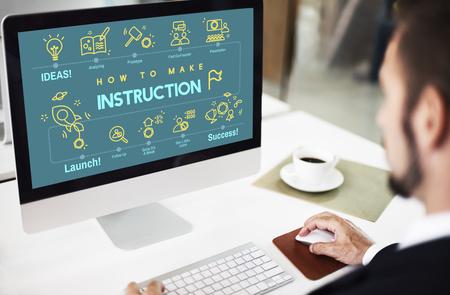 handbook: Instruction Document Guidebook Handbook Help Concept Stock Photo