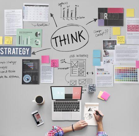 inspiration determination: Thinking Determination inspiration Planning Concept
