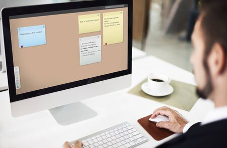 using computer: Sticky Notes Reminder List Board Concept Stock Photo