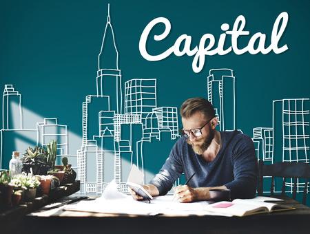 busy city: Capital City District Modern Business Cityscape Concept Stock Photo