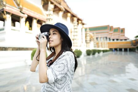 people relax: Temple Camera Image Photo Tourist Trip Girl Concept Stock Photo