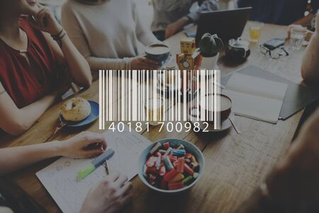 barcode scanner: Barcode Scanner Retail Label Laser Merchandise Concept Stock Photo