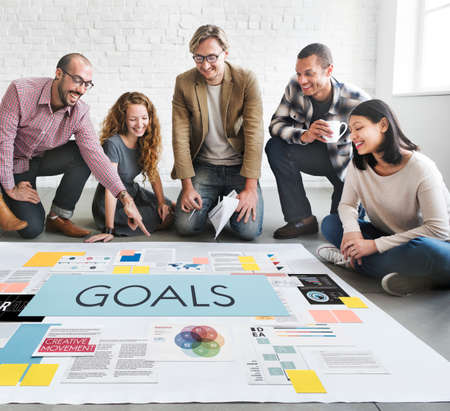 goal oriented: Goals Aspirations Inspiration Mission Target Concept Stock Photo