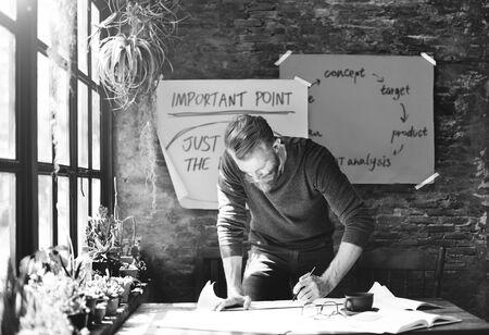 working place: Architect Engineer Draft Blueprint Plan Design Concept