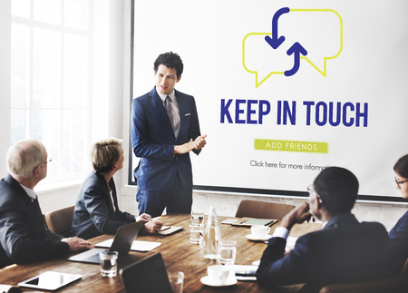 Business presentation with keep in touch concept Imagens