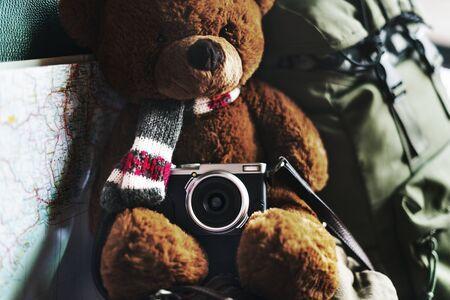 roadtrip: Camping Teddy Bear Travel Roadtrip Concept
