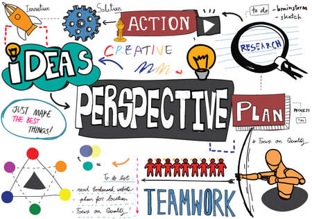 viewpoints: Perspective Plan Action Ideas Business Concept Stock Photo