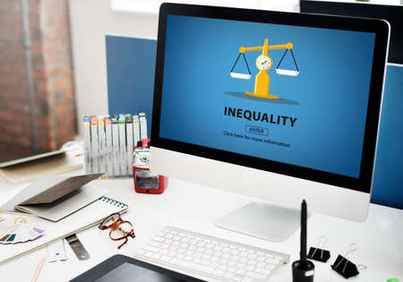 unequal: Inequality Difference Diversity Imbalance Racism Concept