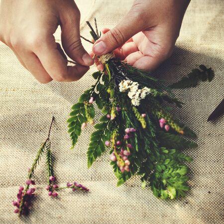 hobby: Flower Decorating Florsit Hobby Recreational Pursuit Concept Stock Photo