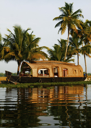kerala backwaters: Houseboat on Kerala Backwaters India Concept