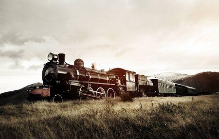 Tren de vapor en un concepto de campo abierto