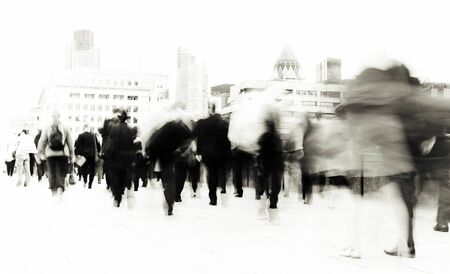 rushing: People Rushing to Work Commuter Concept Stock Photo