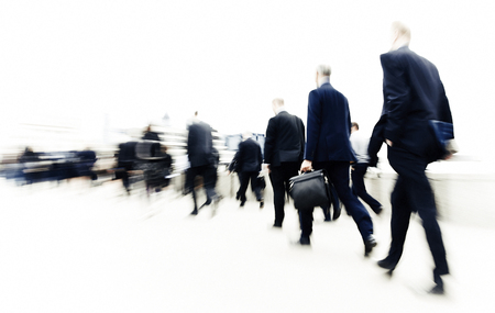 stressing: Commuters in The City People Walking Concept Stock Photo