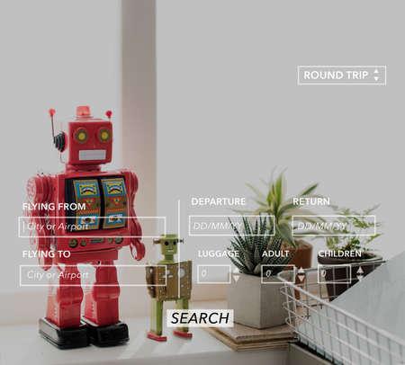 return trip: Robot Room Space Symbol Icon Concept