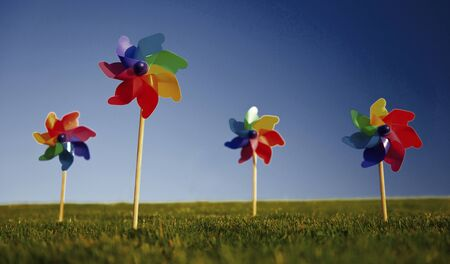 pinwheels: Group of Pinwheels on Grass Concept Stock Photo