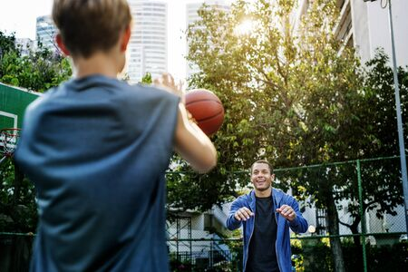 bounce: Basketball Athlete Bounce Coaching Exercise Play Concept Stock Photo