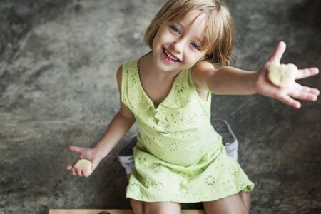 adolescence: Little Girl Happiness Adolescence Cute Concept