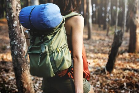 treck: Camping Woman Backpakcer Leisure Holiday Concept