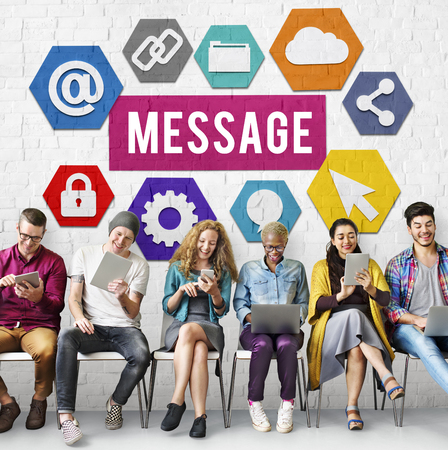 Group of people using digital devices with message concept
