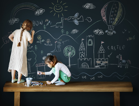friendliness: Creative Drawing Imagination Girl Blackboard Concept Stock Photo