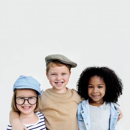 huddle: Kids Huddle Happiness Fun Smiling Concept