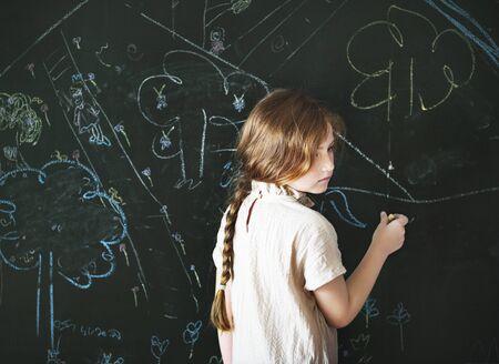 Girl Drawing Creative Ideas Imagination Concept Stock Photo
