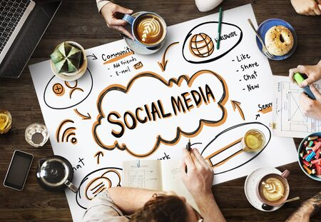 internet network: Social Media Internet Network Technology Cocnept Stock Photo
