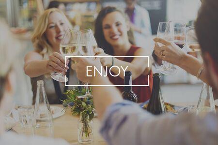 enjoyment: Enjoy Enjoyment Happiness Life Joy Concept Stock Photo