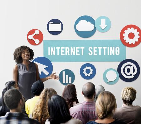 net meeting: Internet Setting Technology Online Cloud Network Concept Stock Photo