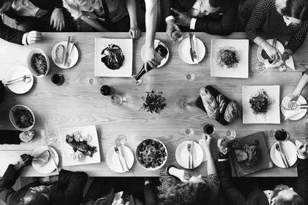 negocios comida: La gente de negocios Reunión concepto de alimentación Discusión Foto de archivo