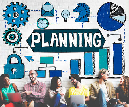 desing: Planning Vision Objectives Guide Desing Process Concept Stock Photo