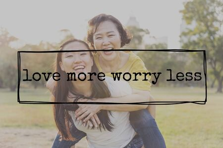 frame less: Love More Worry Less Peace Romance Passion Concept
