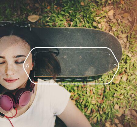 woman lying down: Brand Branding Logo Label Business Concept