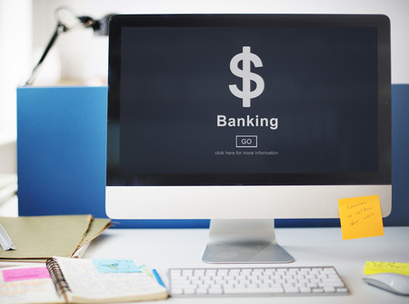 Desktop computer with banking concept Imagens